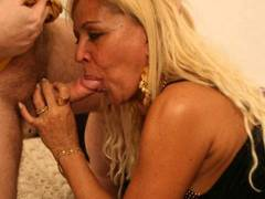 Curvy blonde MILF gets some end-to-end banging